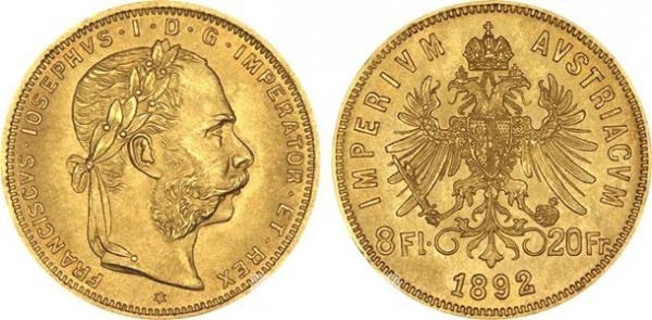 UTLÄNDSKA Guldmynt Austrian 8 Florins/20 Francs 1870-1892