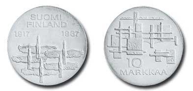 UTLÄNDSKA Silvermynt Finland 10 Markkaa 1967