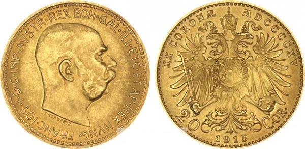 UTLÄNDSKA Guldmynt Austrian 20 Coronas 1892-1915