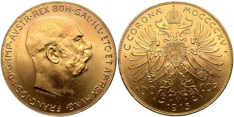 UTLÄNDSKA Guldmynt Austrian 100 Coronas 1908-1915