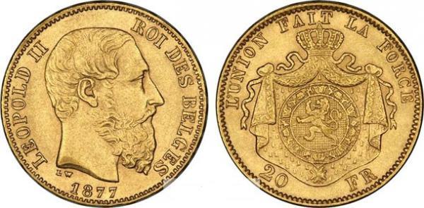 UTLÄNDSKA Guldmynt Belgian 20 Francs Leopold I & II 1831-1934